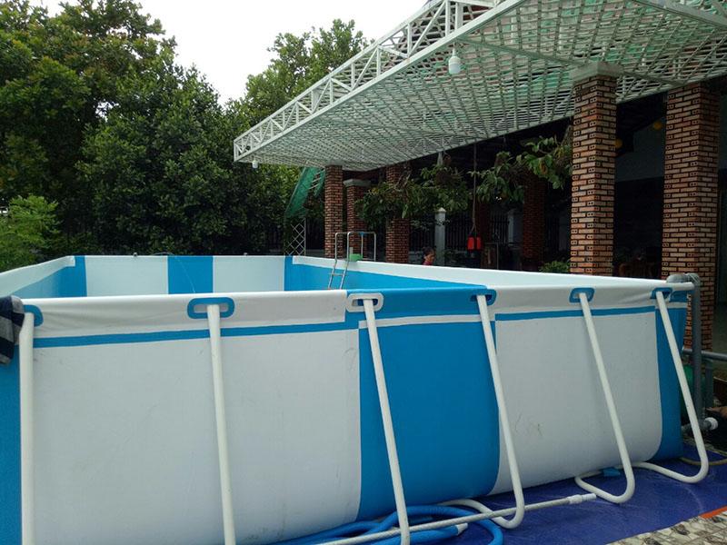 Lắp bể bơi Việt Hàn trắng xanh tại Bù Đăng, Bình Phước